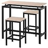Juego de mesa de bar y sillas de madera de hierro, mesa de cocina y sillas, mesa alta y taburete de bar, restaurante, mesa alta de madera oscura (roble)