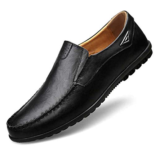 Summer Leather Shoes Men Loafers Breathable Shoes Shallow Casual Shoes Moccasins Comfortable Flats Slip On Zapatos De Hombre Black 10