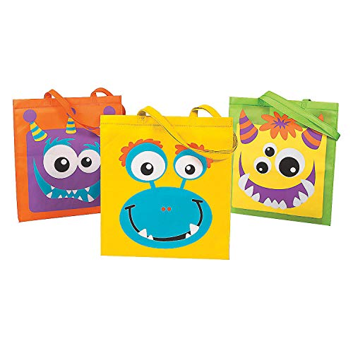 Fun Express - Monster Character Face Tote Bags for Halloween - Apparel Accessories - Totes - Novelty Totes - Halloween - 12 Pieces
