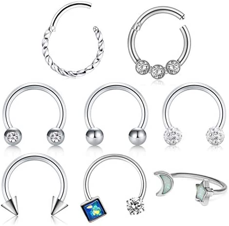 D.Bella Fake Nose Rings Hoop Clip on Spring Fake Hoop Earring Stainless Steel Retractable Nose Ring Faux Helix Cartilage Ear Lobe Conch Earrings Fake Nose Lip Ear Piercing Jewelry for Women Men