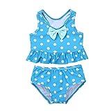 TiaoBug Baby Mädchen Einteiler Badeanzug UV-Schutz Polka Dots Bikini Tankini Schwimmanzug mit Rüschen Rock Badebekleidung 62 68 74 80 86 92 98 Blau Zweiteiler 80-86