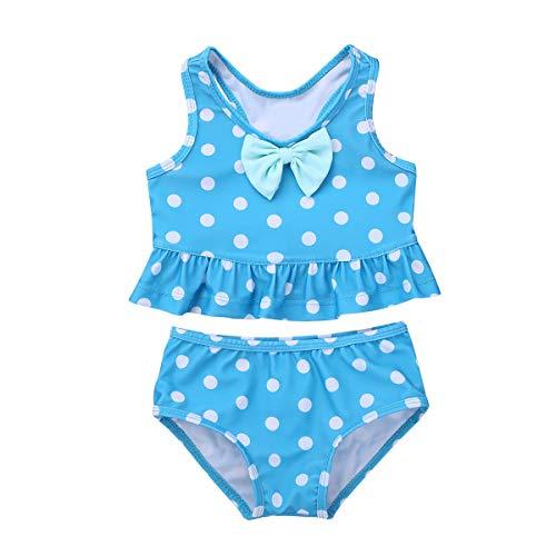 TiaoBug Baby Mädchen Einteiler Badeanzug UV-Schutz Polka Dots Bikini Tankini Schwimmanzug mit Rüschen Rock Badebekleidung 62 68 74 80 86 92 98 Blau Zweiteiler 104-110