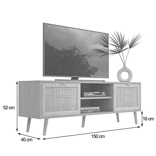 Newfurn TV Lowboard Sonoma Eiche Rattan Optik TV Schrank Modern Skandinavisch – 150x52x40 cm (BxHxT) – Fernsehtisch TV Board Rack Boho – [Mila.Eight] Wohnzimmer - 4