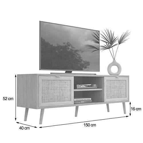 Newfurn TV Lowboard Sonoma Eiche Rattan Optik TV Schrank Modern Skandinavisch - 150x52x40 cm (BxHxT) - Fernsehtisch TV Board Rack Boho - [Mila.Eight] Wohnzimmer - 3