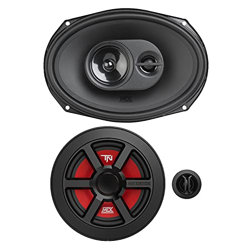 MTX Terminator 6.5 Inch 45 Watt Woofer Cone Component Speaker Pair and 693 6x9 Inch 120W 2 Way Coaxial Car Audio Speakers (Pair)