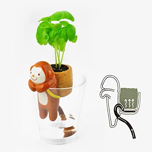 Maceta Suculenta De Cerámica De Mono De Dibujos Animados Lindo De Escritorio con Bandeja, Maceta Decorativa De Cactus Bonsái, Maceta De Planta De Mono