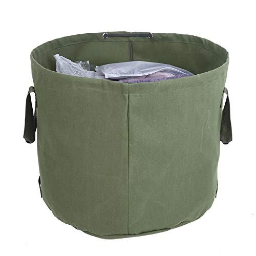 Milieu Portable Waterproof Herbruikbare Canvas Tuin Gazon Leaf Vuilnis Bag Container Opslag Tote