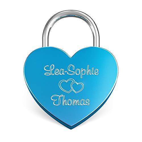 LIEBESSCHLOSS-FACTORY Herz-Schloss Blau mit Gravur und Schlüssel, gratis Geschenkbox uvm. Jetzt graviertes Liebes-Schloss in Herzform gestalten!