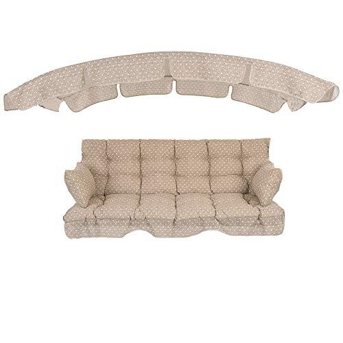 PATIO Auflagen Set Ravenna 175 cm mit Sonnendach für Hollywoodschaukel Polsterauflage Sitzkissen Rückenkissen Seitenkissen Gesteppt H025-04PB