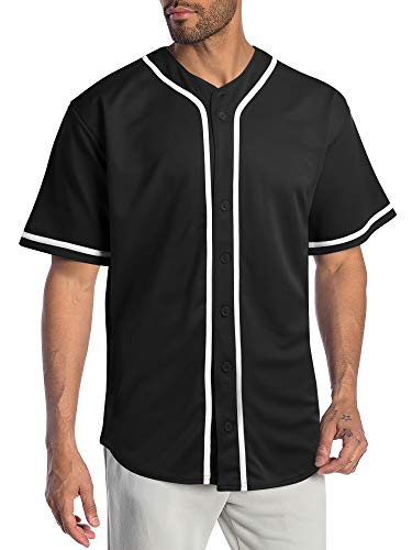 Hat and Beyond Mens Baseball Jersey Stripe Button Down Shirts Team Sports Uniforms (X-Large,1DL01_Black)