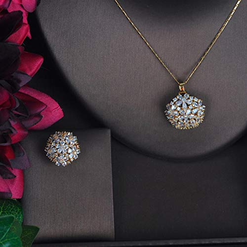 LIYDENG Joyería de lujo con colgante en forma de flor grande para mujer, color dorado con circonita cúbica AAA accesorios de joyería regalos (color: color oro)