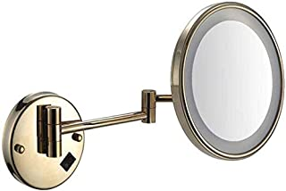LED Makeup Vanity Mirror, Single Side Wall Mounted Beauty Mirror Multiple Magnification Bathroom Mirror Extendable Cosmetic Mirror 8inch,Black_5X,Bathroom