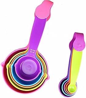 10pcs/Set Measuring Spoon Cups Set Rainbow Color Plastic Pastry Sauce Measure Cups Spoons Baking Measurement Utensil