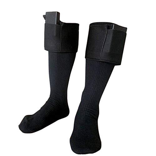 dontdo Calentadores de algodón de doble capa para calentar los calcetines de invierno con calefacción eléctrica y caja de batería, color negro