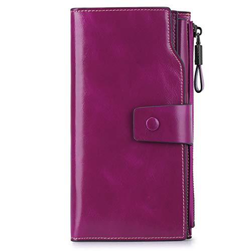 S-ZONE Damen groß Kapazität echtes Leder Geldbörsen mit Reißverschluss-Tasche