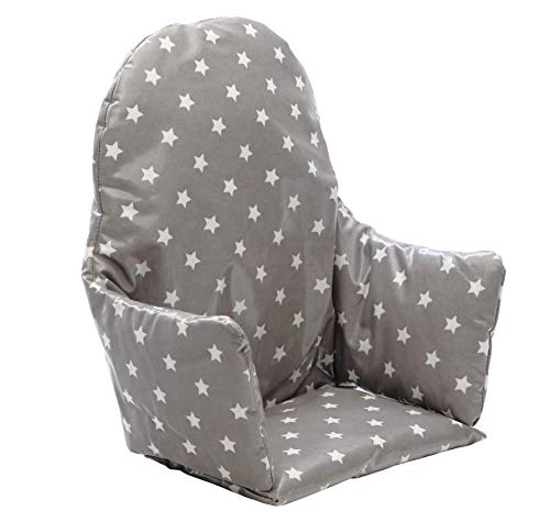 IKEA Antilop Highchair Cushion. Easy to fit and Fully Wipe Clean. Also fits IKEA BLANES and Bebe Style 2 in 1 Classic high Chairs(Soft Grey Stars)