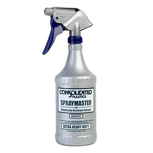 Consolidated Plastics Chemical Resistant Spraymaster Spray Bottle With Leakproof Sprayer, HDPE, Gray, 32oz., 6 Piece