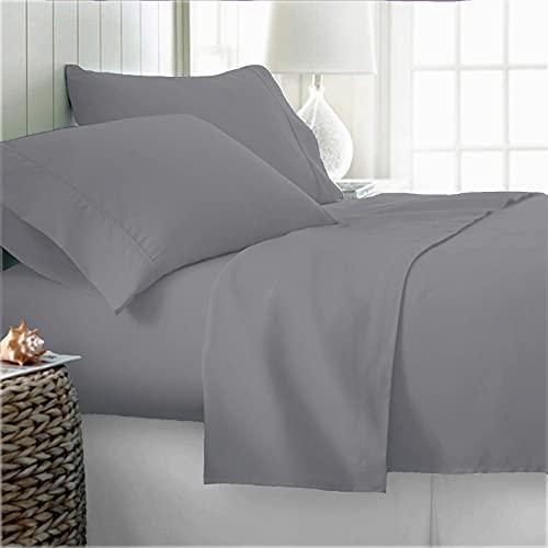 100% Organic Cotton Bed Sheets Queen - Organic Light Gray Sheets - 300 Thread Count Organic Cotton - Organic Cotton Percale Sheets - Deep Pocket Organic Cotton Sheets - GOTS Certified Sheets
