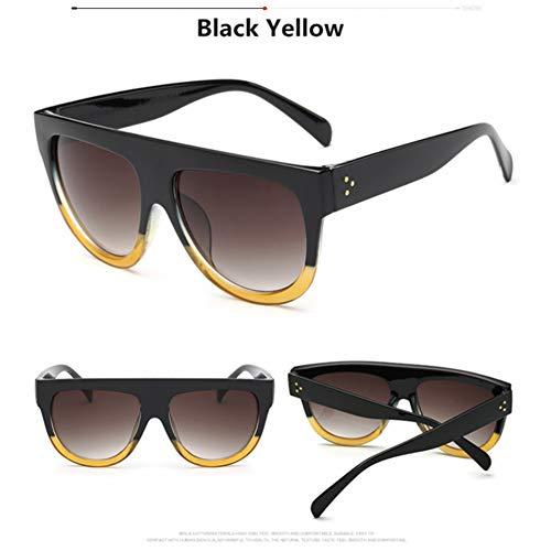 RQMQRL Flat Top Donna Uomo Oversize Occhiali da Sole Retro Shield Shape Brand Design Big Frame Rivet ShadesOcchiali da Sole Uv400 Eyewear