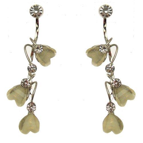 Marfil perlas y cristal largo en cascada pendientes Corazón–día de San Valentín–boda novia accesorios–Viene con una bolsa de regalo