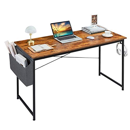 Homchwell Study Computer Desk 40 inch Home Office Writing Small Desk,Modern Simple Style PC Table with A Storage Bag and Headphone Hook,Rustic Brown