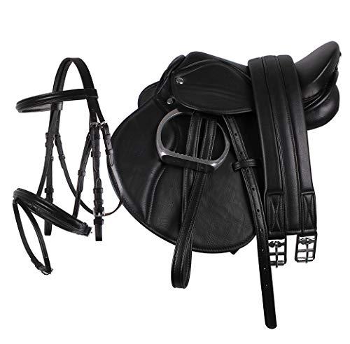 QHP Sattel Ponysattel Sattelset Steigbügel Riemen Gurt Trense ARBO-INOX® (schwarz)