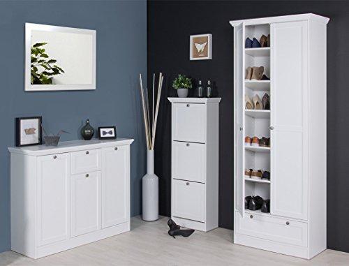 expendio Garderobenset Landström 148 weiß Sideboard Schuhschrank Kommode Mehrzweckschrank Landhausmöbel Diele Flur