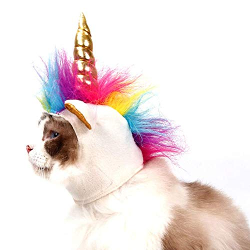NACOCO Cat Unicorn Hat with Ear Hole for Small Dogs Puppy, Cat Costume Accessory for Halloween,...