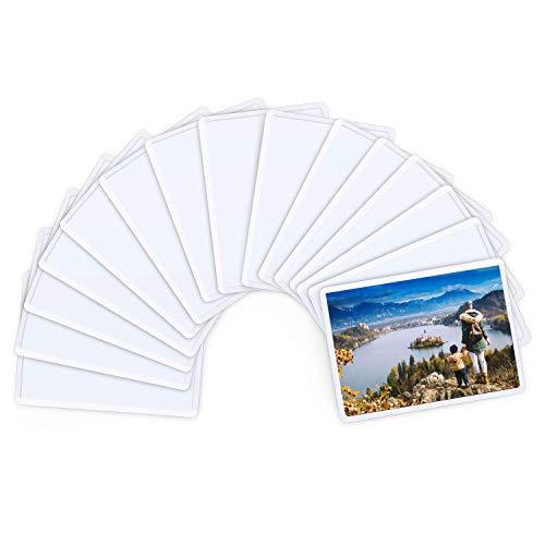 Magnetische Fototaschen, Magiclfy 15 Stück Magnet Bilderrahmen Fotorahmen für Fotos Postkarten von 6.3 x 8.9 cm für Kühlschrank, Weiß