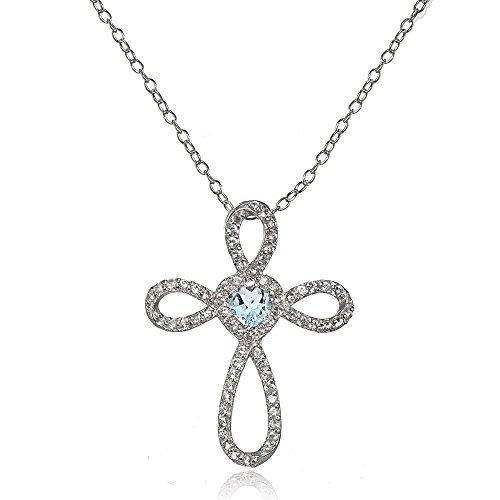 Lovve Sterling Silver Blue Topaz & White Topaz Heart Infinity Cross Necklace Blue Topaz Heart Cross