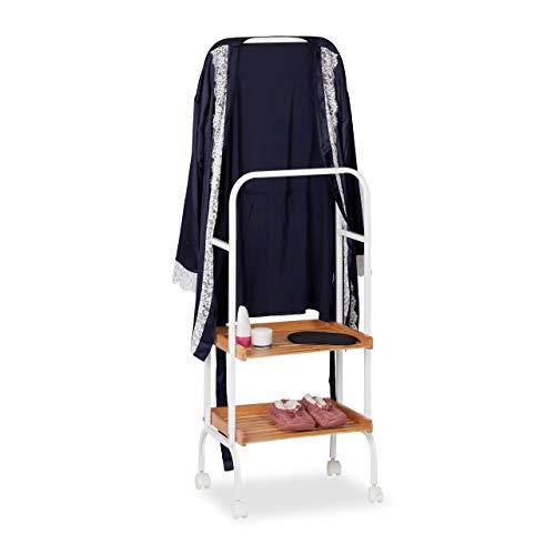 Relaxdays Stummer Diener auf Rollen, fahrbarer Kleiderständer mit 2 Ablagen, Metall & Bambus, 129 x 42 x 32 cm, weiß