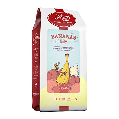 Joffrey's Coffee & Tea Company Bananas Foster, Flavored Coffee, Artisan Medium Roast, Arabica Coffee Beans, Banana, Brown Sugar, Butter, & Rum Flavor, Gluten-Free, No Sugar (Ground, 16 oz)