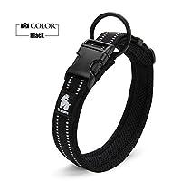 安全反射 通気 ソフト ナイロン 首にやさしい 犬用首輪 超大型犬 (XXXL, ブラック)