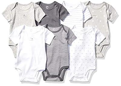 Amazon Essentials Toddler Kid's 7-Pack Short-Sleeve Bodysuits, Days of the Week - Stars, 18M