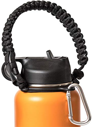 Hike And Joy Paracord Handle for Hydro Flask and Other Wide Mouth Bottles -12oz to 64oz. Includes Water Bottle Strap Carrier, Safety Ring and Carabiner. Ideal Water Bottle Handle for Hiking.