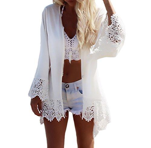 HaiDean Cardigan Damen Kimono Sommer Langarm Drucken Mit Spitze Strand Tunika Elegant Jungen Hipster Casual Locker Luftig Dünn Bikini Cover Up Weiß (Color : Weiß, Size : One Size)