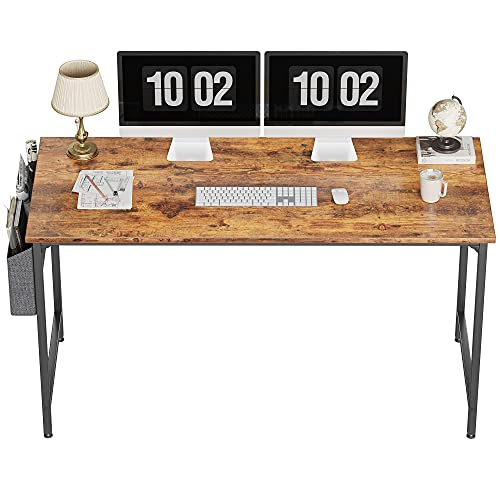 CubiCubi Study Computer Desk 63' Home Office Writing Small Desk, Modern Simple Style PC Table, Black Metal Frame, Rustic Brown
