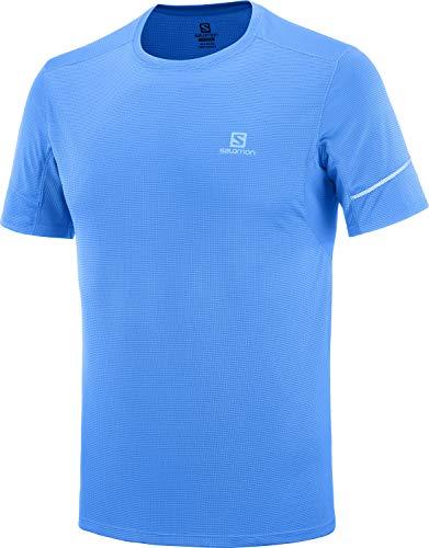 Salomon Agile SS tee M Camiseta deportiva de manga corta, Azul (Indigo Bunting), Talla XL para Hombre