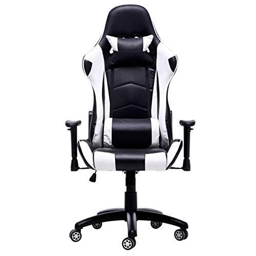 SQQSLZY Game Chair,Game Chair Racing Style,Ergonomic High-back Computer Chair,With Height Adjustment,Headrest And Lumbar Support,E-sports Rotation,Lifting Armrests,Adjustable Back