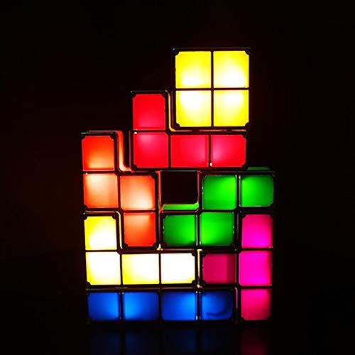 YXZQ 7 Farben blockiert Induktion Ineinandergreifende 3D-Puzzles, Würfel stapelbares Nachtlicht, Spielzeug LED Neuheit Schreibtischlampe Beleuchtung DIY für Kinder Teens und Erwachsene Home Deco