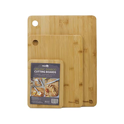 Homiu Chopping Boards Bamboo Set of 3 Wooden Cutting Perfect for Vegetables Meat Bread Cheese and Preparing or Serving Food Eco-Friendly Kind On Knife Blades