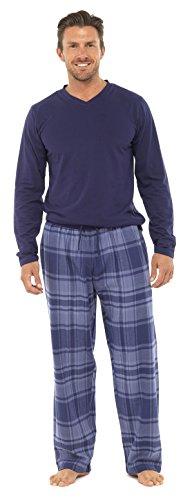 Ensemble de Pyjama à Carreaux Coton Chaud Doux HT723 Homme (L) Bleu Marine