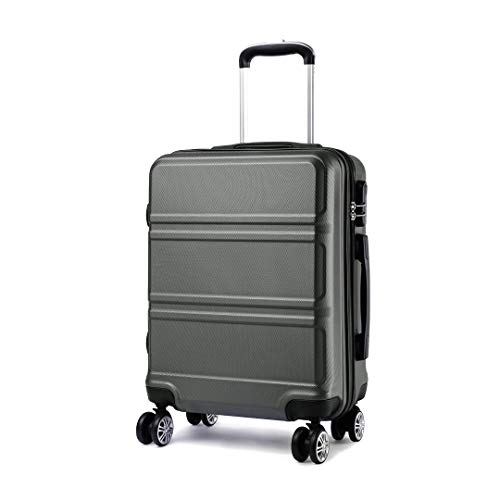 Kono Medium 24 Inch Luggage Lightweight ABS Hard Shell Trolley Travel Case with 4 Wheels Fashion Suitcase (24', Grey)
