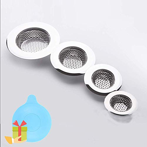 Hair Catcher Shower Drain(4 Pack), Bathtub Drain Cover, Sink Tub Drain Stopper, Sink Strainer for Kitchen and Bathroom, Hair Stopper for Bathtub Drain Cover Size from 1.5'' to 4.45''. (Round hole)