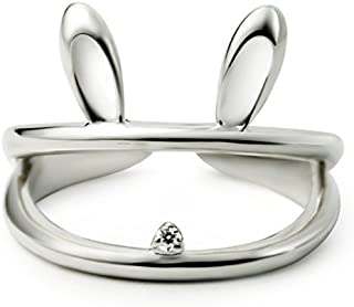 Women 925 Sterling Silver Hollow Luck Rabbit Bunny Open Tail Ring Size 6-8