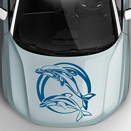INDIGOS UG Aufkleber - Autoaufkleber Jumping Delfine 60cm x 58cm Signalblau - Tuning Carystyling Heckscheibe Auto
