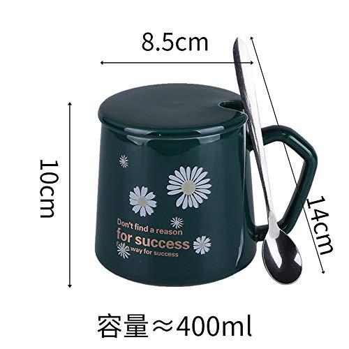 Xiaobing Taza de cerámica casera de Moda con tracería de Oro, Taza de café de la Oficina, Taza de Desayuno con Leche -D101-301-400ml