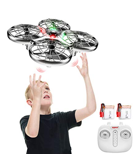 Handbetriebene Drohne 2 Akkus Infrarot UFO Kollisionssicherer X100 2,4 GHz RC-Quadrocopter,Höhe Halten, 360° Flip, Start/ Landen per Knopf Spielzeug Helikopter für Kinder (Silver)