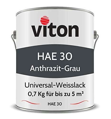 VITON Acryllack für Heizkörper - 0,7 Kg - Seidenmatt Anthrazit - UV- & Hitze-beständig - Heizkörperfarbe, Heizkörperlack, Heizungslack - HAE 30 - RAL 7016 Anthrazit-Grau