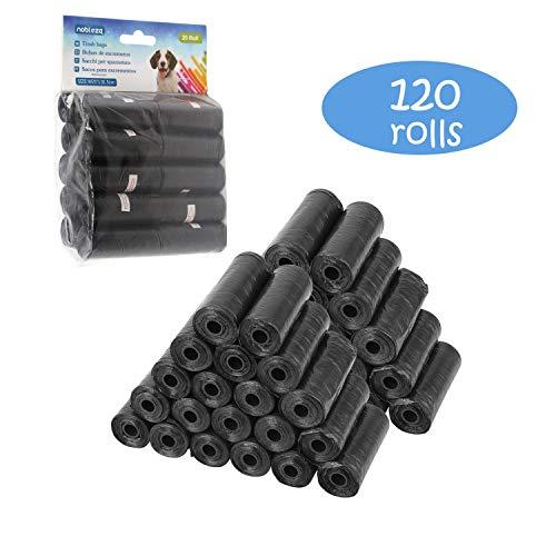 Nobleza – 1800 Conde Bolsas de Caca Perro Bolsas para excrementos de Perros Pack de 120 Rollos. Color Negro